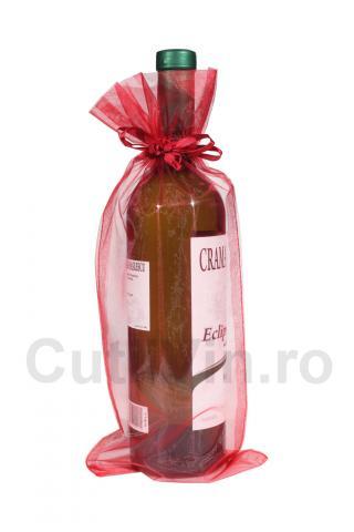 Saculet rosu organza