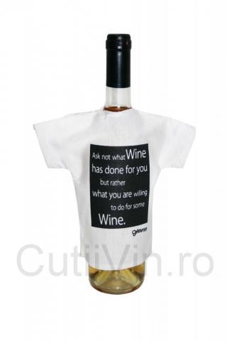 Tricou alb sticla vin