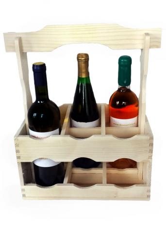 Naveta din lemn pentru 6 sticle