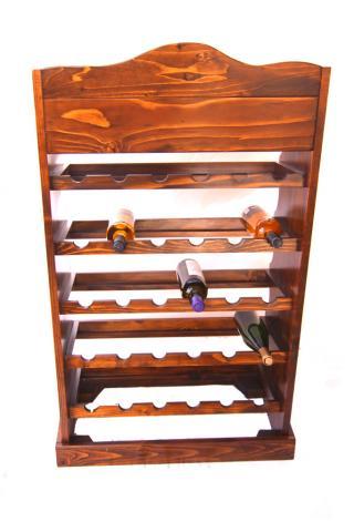 Raft lemn 30 sticle cu roti